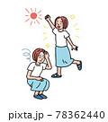 元気な女性とめまいがして座り込む女性のイラスト 78362440