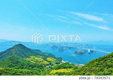愛媛県 青空のしまなみ海道 78363671