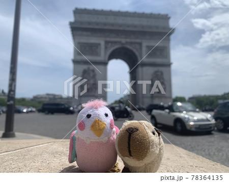 フランスの凱旋門にてぬいぐるみと写真 78364135