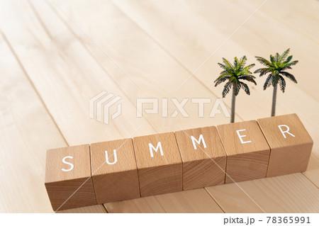夏、夏休み 「SUMMER」と書かれた積み木とヤシの木のおもちゃ 78365991
