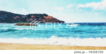 【島根県】石見海浜公園のしぶきをあげる海と青空 浜田市 78366700