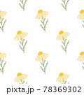 Vintage floral seamless pattern with yellow cute daisy flowers print. Isolated natural ornament. 78369302