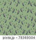 Little random rowan berries and foliage seamless doodle pattern. Pastel green background. Natural ornament. 78369304