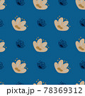 Beige doodle seamless pattern with bloom naive flowers ornament. Blue bright background. Simple style. 78369312