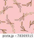 Summer bright seamless patetrn with outline random leaf branches print. Pastel pink background. 78369315
