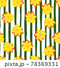 Summer season seamless pattern with bright yellow margierite flower ornament. Striped background. 78369331