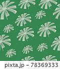 Grey random palm licuala leaf seamless pattern in hand drawn floral style. Green bright background. 78369333