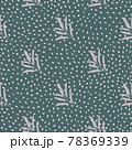 Lilac abstract minimalistic leaf branches silhouettes ornament. Green dotted background. 78369339