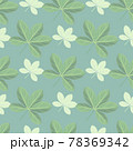 Hand drawn green and white abstract doodle scheffler seamless pattern. Blue background. Botany style. 78369342