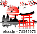 Japanese art with ancient design of Torii gate and the beautiful nature of Japan 78369973