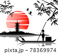 Japanese art with ancient design of fisherman on the boat and the beautiful nature of Japan 78369974