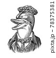 Dolphin man in hat and suit. Marine mammal. Victorian gentleman. Fashion animal character. Hand 78375381