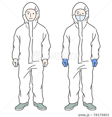 【軽装備】防護服 着用した作業員のイラスト - マスク・グローブ 78379803