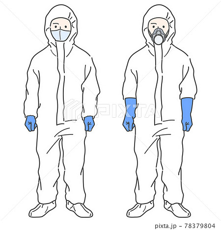 【中装備】防護服 着用した作業員のイラスト - 防毒マスク・シューズカバー・グローブ 78379804