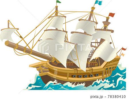 荒波を進む船のイラスト 78380410