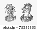 Fish woman and Dolphin man in hat and suit. Victorian lady. Marine mammal. Victorian gentleman 78382363