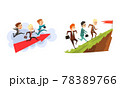 Business People Walking to Goal Overcoming Obstacles Set,, Successful Business Team, Teamwork, Cooperation, Partnership Cartoon Vector Illustration 78389766