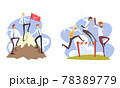 Business People Climbing up Mountain to Success and and Overcoming Obstacles Set, Career, Leadership, Challenge, Competition Cartoon Vector Illustration 78389779