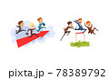 Business People Competition Set, Office Employees Competing Among Themselves Cartoon Vector Illustration 78389792