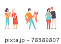 People Giving Gifts Set, Men and Women Celebrating Birthday Flat Vector Illustration 78389807