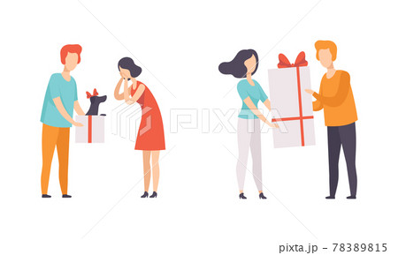People Giving Gifts to their Beloveds Set, Man and Woman Celebrating Holidays Flat Vector Illustration 78389815