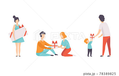 People Celebrating Holidays Set, They Giving Gifts and Having Fun at Birthday Party Flat Vector Illustration 78389825