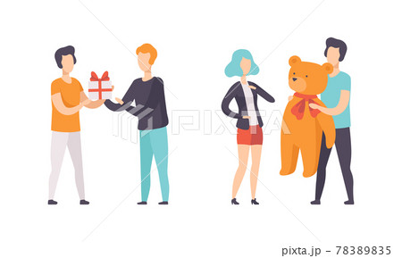People Giving Gifts Set, Man and Woman Celebrating Holidays or Having Fun at Birthday Party Flat Vector Illustration 78389835