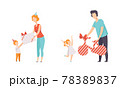 People Celebrating Holidays Set, Parents Giving Gifts to their Kids at Birthday Party Flat Vector Illustration 78389837