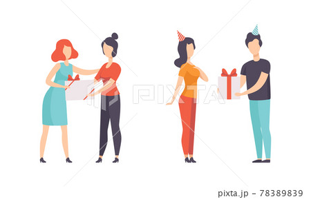 People Giving Gifts to their Friends and Beloveds Set, Man and Woman Celebrating Holidays Flat Vector Illustration 78389839