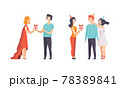 People Celebrating Holidays and Giving Gifts Set Flat Vector Illustration 78389841