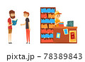 People Choosing and Bying Book in Bookstore Cartoon Vector Illustration 78389843