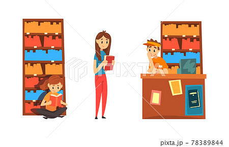Students Taking and Reading Books in Library, People Choosing and Bying Book in Bookstore Cartoon Vector Illustration 78389844