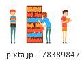 Students Taking and Reading Books in Public Library, People Choosing in Book in Bookstore Cartoon Vector Illustration 78389847