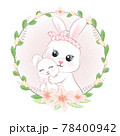 Cute Little rabbit with mom and flowers frame drawn animal watercolor illustration 78400942