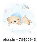 Teddy bear sleeping on the cloud blue watercolor background 78400943