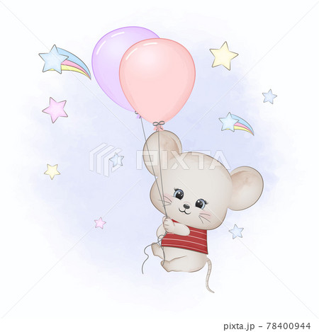 Cute little mouse with balloons on the sky watercolor illustration 78400944