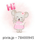 Cute little mouse with balloons. Say HI concept 78400945