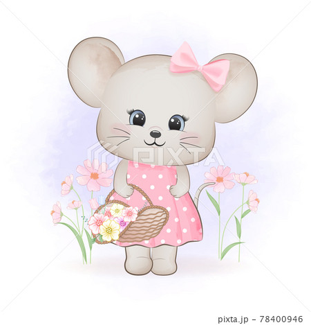 Cute little mouse with flowers in basket, cartoon animal watercolor illustration 78400946