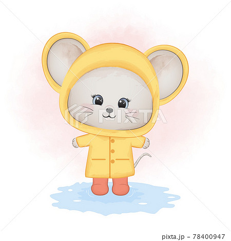 Cute little mouse wearing raincoat cartoon animal watercolor illustration 78400947
