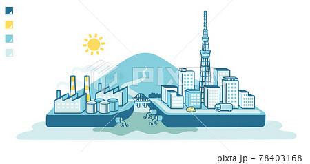 Illustration of seawater pollution 78403168