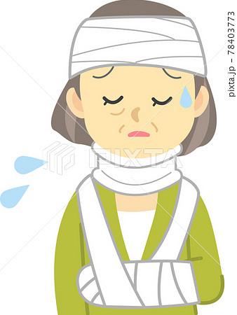 イラスト素材:ケガシリーズ 年配女性が交通事故で頭に包帯を巻いてむち打ち用コルセットで泣いている姿 78403773