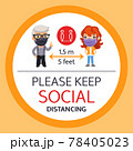 Please Keep Social Distancing Round Poster 78405023