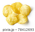 Potato chips isolated on white, from above 78412693