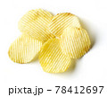 Potato chips isolated on white, from above 78412697