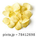 Potato chips isolated on white, from above 78412698