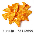 Corn chips nachos isolated on white, from above 78412699