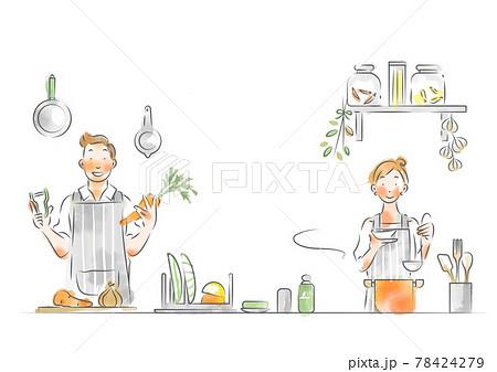 おしゃれなキッチンで料理を楽しむカップル 78424279
