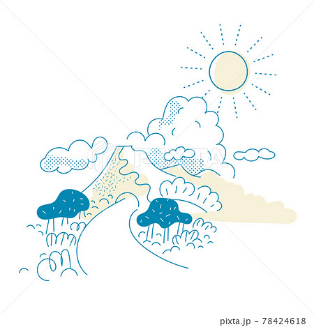 山と太陽のイラスト 78424618