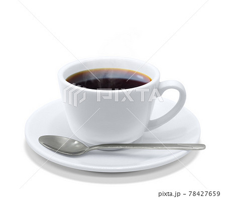 コーヒー 飲み物 イラスト リアル ホット スプーン 湯気 78427659