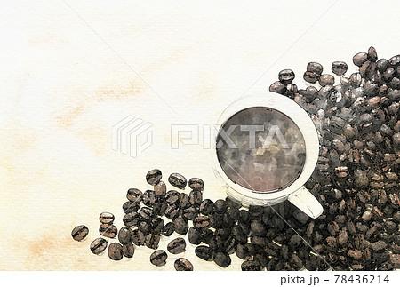 コーヒー豆とカップ 水彩画風 78436214